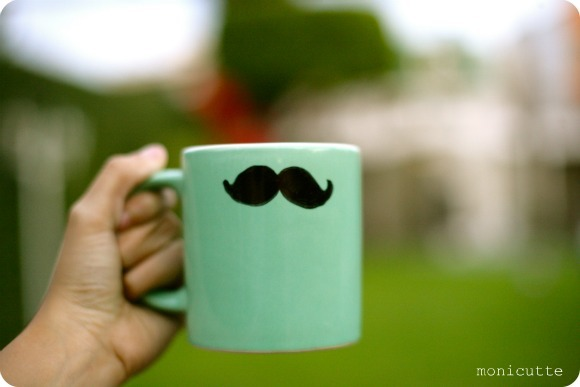 cup, cute, mug, mustache, sea green, the first lime