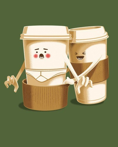 cups, cute, funny, illustration