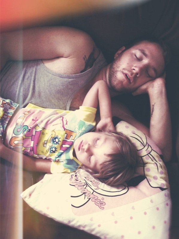 cute, dad, girl, sleepy