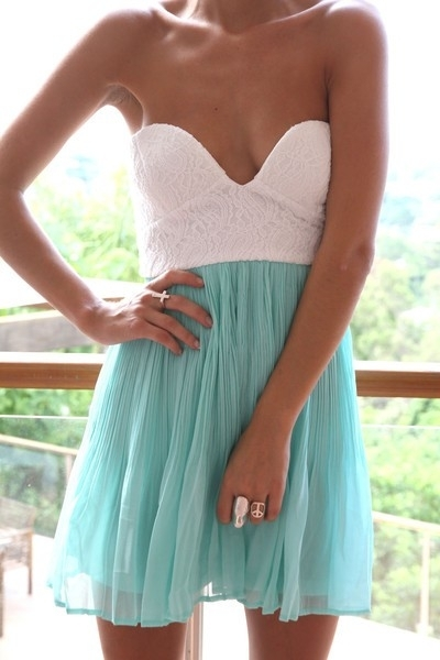 cute, dress, fashion, paste, pastel colors, pleated, spring, spring colors, summer, summer fashion, summer tan, tan, teal, turquoise, white, white corset