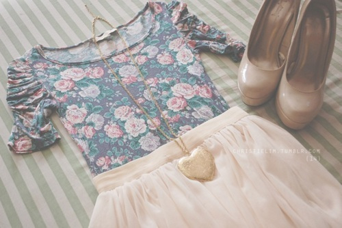 cute, fashion, floral, girl