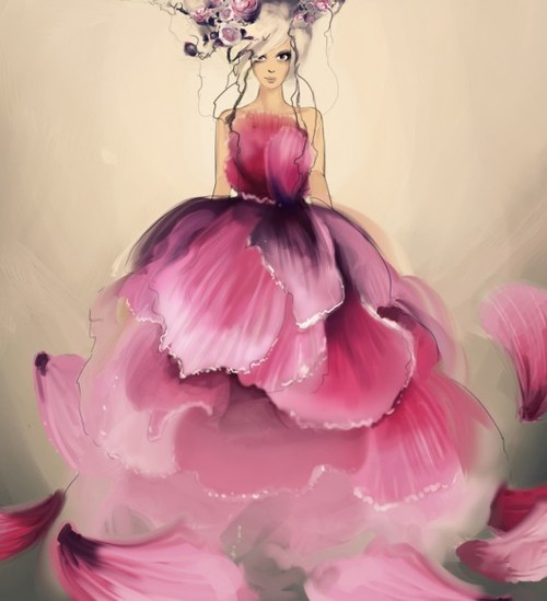 cute, fashion illustration, flowers, girl