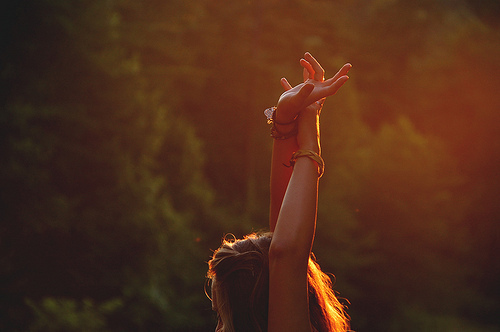 cute, girl, greenery, hands, hippie, indie, nature, sunset