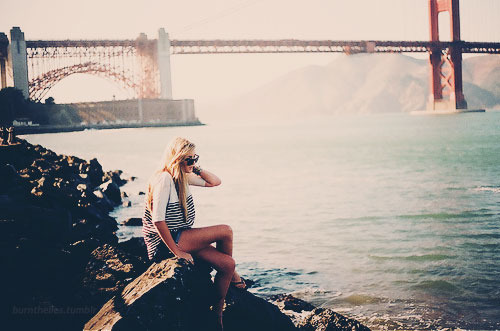 cute, girl, mar, paisagem, photo, ponte, praia, sea