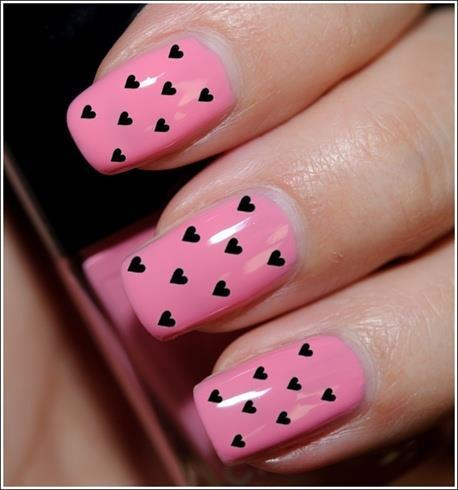 cute, heart, nails, pink