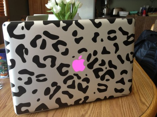 cute, leopard, macbook, pink