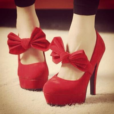 cute, red, shoes