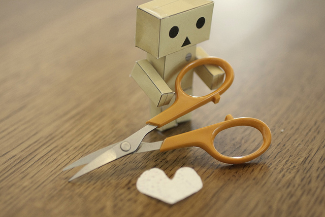 danbo, heart, love, scissors