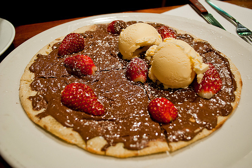 delicious, food, ice cream, nutella, pancake, strawberry