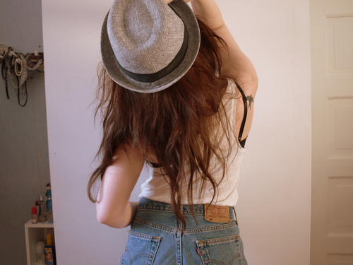 denim, girl, hair, hat