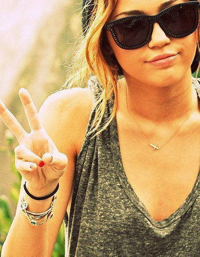 deuces, miley, miley cyrus, peace, pretty, sunglasses