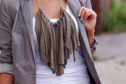 diy, fashion, jersey, knot, knotted, necklace, rags, stretch, tassels