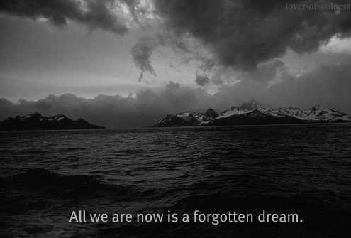 black and white, clouds, dream, forgotten, mountain, nature, ocean, text, water