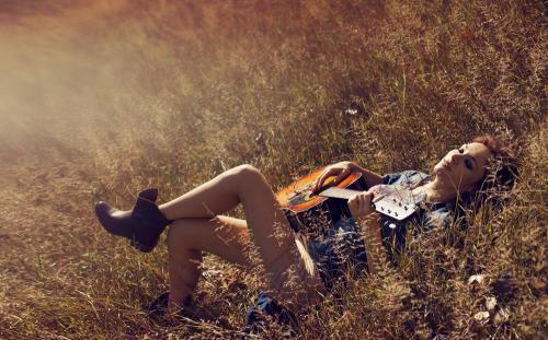dream, feminine, girl, grass, guitar, hippie, music, poland, pot, sonia bohosiewicz, summer, vintage