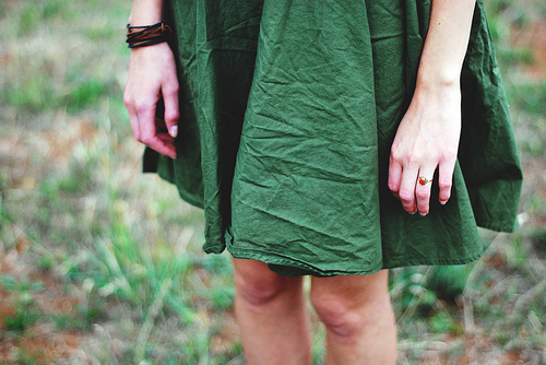 dress, fashion, girl, green, hipster, nature, outfit, photography, skirt, vintage