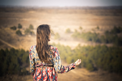 dress, girl, hippie, lonely