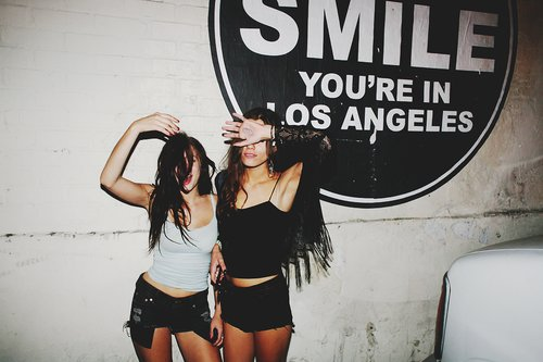 drunk, friends, girls, hair, la, night, photograph, young