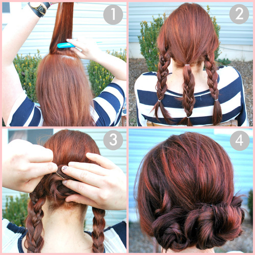 amazing, beautiful, braids, cool, easy, fashion, haidresser, hair, hairstyle, how to, hwo to, maisarah, red, updo