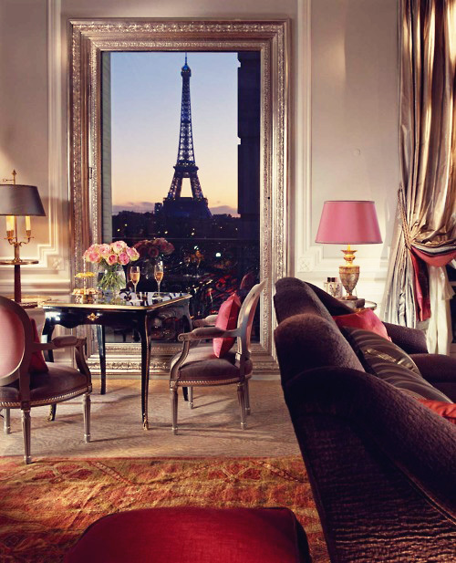 eiffel tower, flowers, hotel, lamp, paris, pink lamp, room, sunset