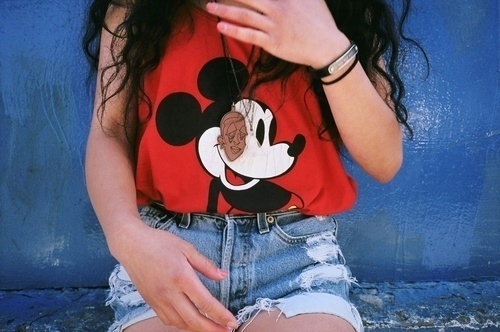fashion, girl, hair, mickey mouse, outfit, red, style