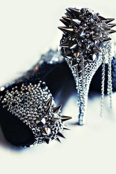 fashion, girl, high heels, studs