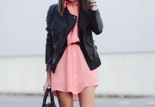 fashion, girl, leather, leather jacket