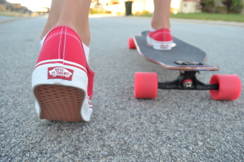 fashion, girl, red, shoes, skate, skateboard, street, vans, vans off the wall, xjolien