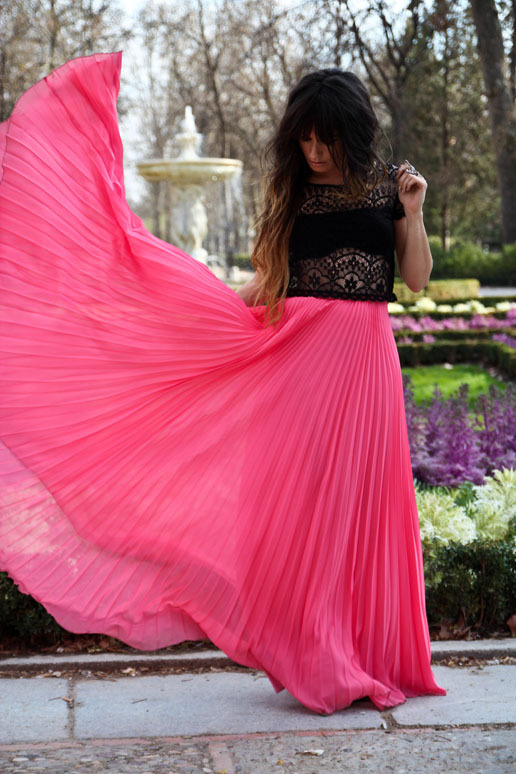 fashion, maxi, pink, skirt