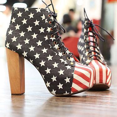 flag, heels, shoes, usa