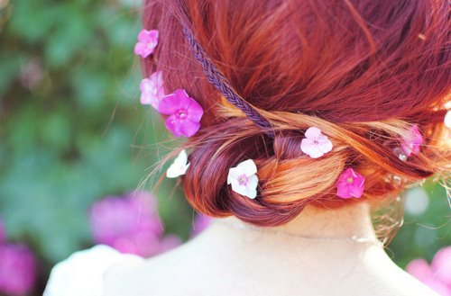 flowers, girl, hair, photo