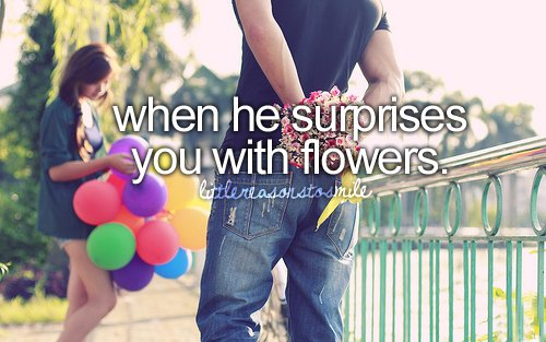 flowers, he, him, smile, suprise