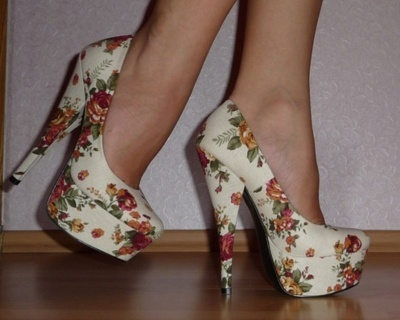 flowers, heels, shoes
