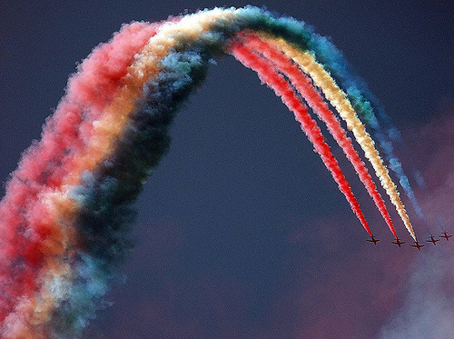 fly, photography, plane, rainbow