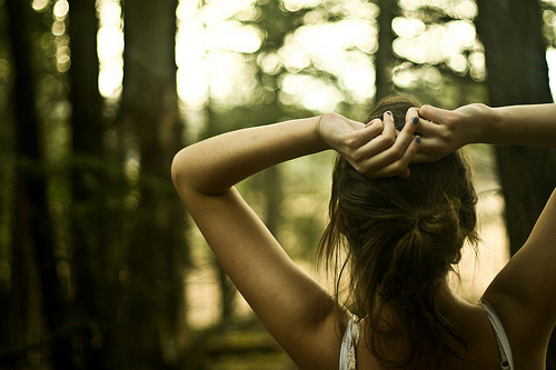 forest, girl, hait, nature