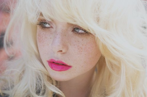 freckles, girl, hair, makeup, pink, pretty