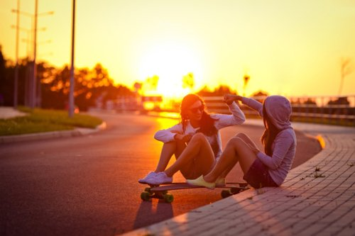 girl, girls, skate, skateboard, skater, summer, sun, sunrise, sunset, sunshine