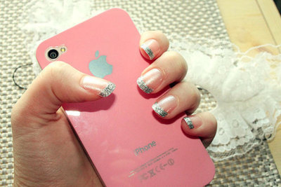 girl, iphone, nails, pink