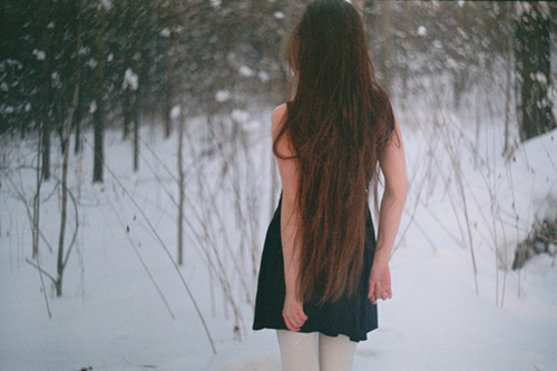 girl, long hair, photography, snow