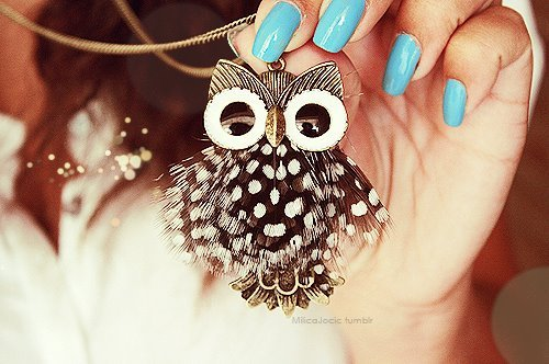 girl, necklace, owl