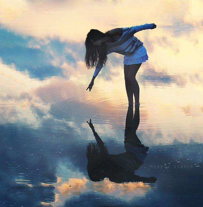 girl, reflection, water, wow beautiful