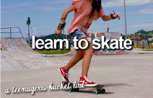 girl, skate, skateboard, text