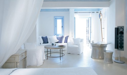 blue, greece, home, house, island, paradise, pillows, place, purple, room, white, window