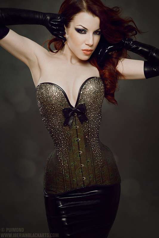 art, beautiful, beauty, bow, corset, couple, cute, embellishment, fashion, female, fetish, fetish diva, fetish girl, fetish wear, gloves, hair, high-end fetish, hot, hourglass, ladymorgana, latex, model, not a couple, ornate, pattern, peacock