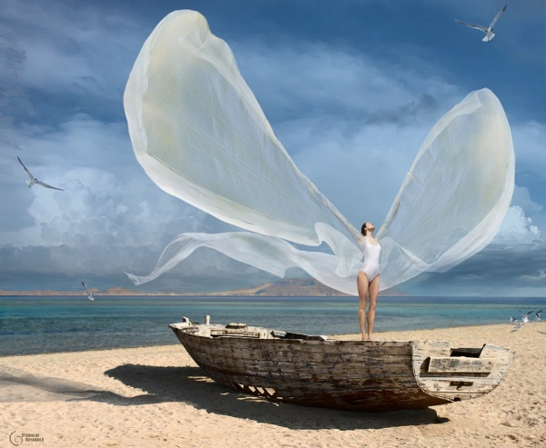 beach, beautiful, fairy, fashion, fly, free, freedom, girl, hair, hot, sea, sexy, ship, sky, summer, white