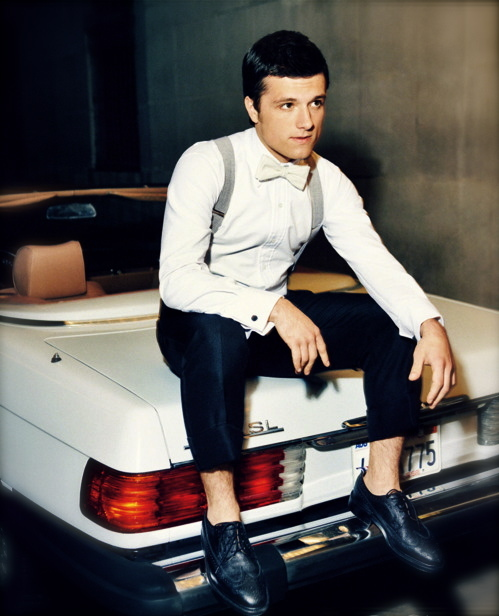 black, bowtie, boy, cute, guy, handsome, hipster, hot, indie, josh hutcherson, man, mercedes, sexy, sportscar, suspenders, vintage, white