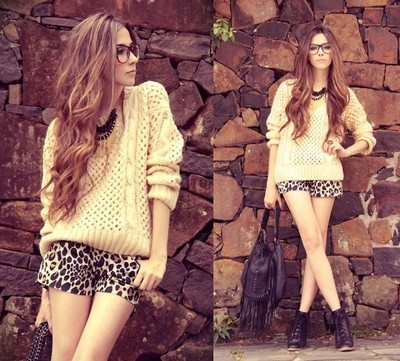 black, brunette, cute, fashion, girl, glasses, hair, heels, hot, leopard, long, lookbook, necklace, outsde, purse, shoes, shorts, style, summer, sunshine, sweater, yellow