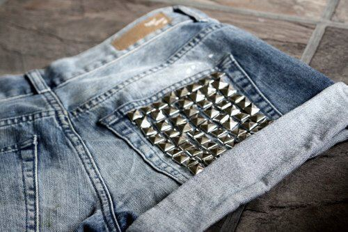 damn, fashion, girl, girly, hot, jeans, love, rivet, shorts, spike