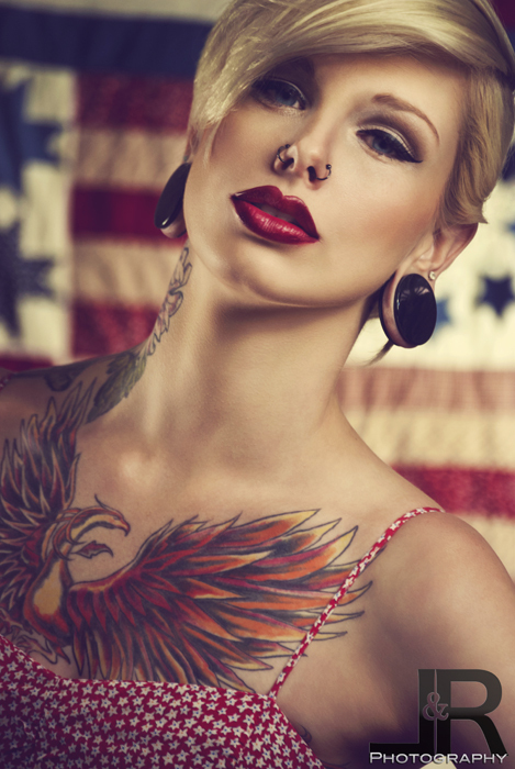 alternative, bad ass, badass, beautiful, bird, face, gauge, gauges, girl, hot, ink, inked, make up, makeup, model, nose piercing, phoenix, piercing, piercings, plug, plugs, red lips, sexy, tattoo, tattooed, woman