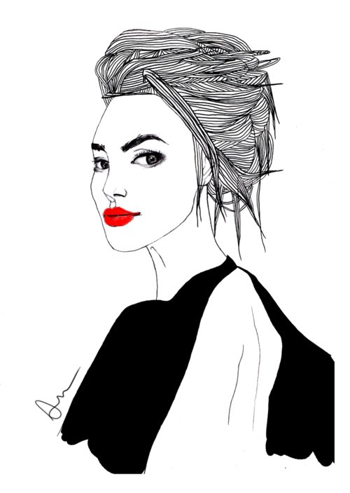 art, beautiful, black, draw, drawing, draws, dress, eyebrow, france, girl, grey, hair, illustrtion, ilustration, lips, paris, red, sexy, women