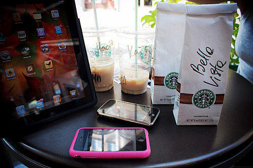 ipad, iphone, ipod, starbucks, tech, touch